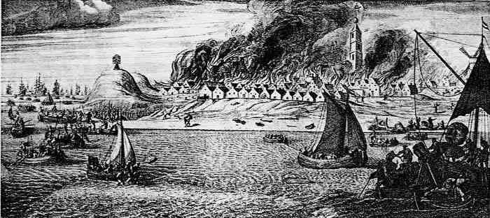 Brandschatting van West-Terschelling met rechts de Brandaris, 1666