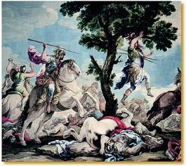 De dood van Absalom, die met zijn lange haar in een boom bleef hangen