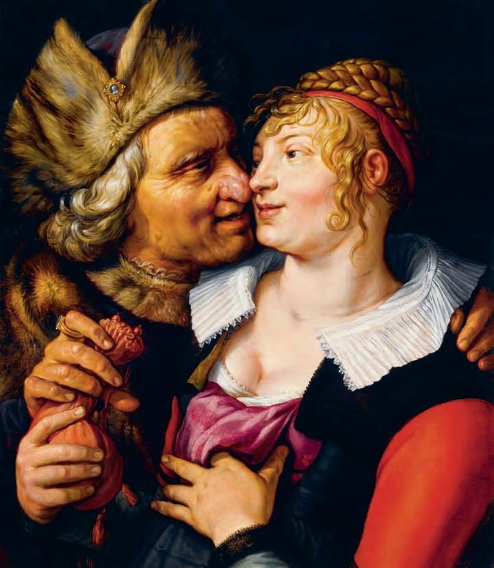 Een rijke oude man, gekleed in kostbaar bont, biedt een jonge vrouw zijn beurs aan in ruil voor intimiteit. Door zijn geld aan te nemen, geeft ze aan dat ze hier wel wat voor voelt. (Hendrick Goltzius, 1615)