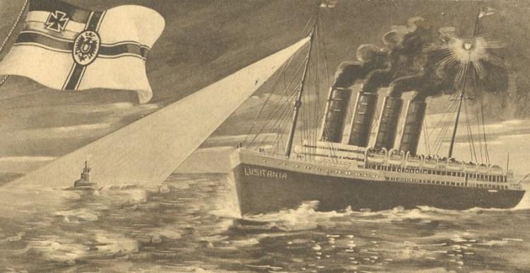 Duitse ansichtkaart over de aanval op de Lusitania