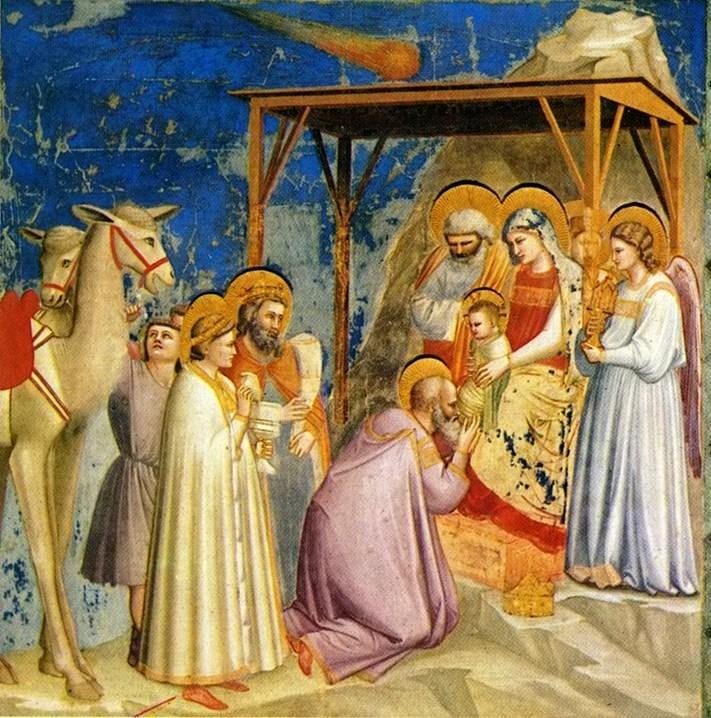 De verering door de drie wijzen met boven Jezus een ster. Het werk is gemaakt door Giotto di Bondone die in 1301 de beroemde Komeet Halley zag,
