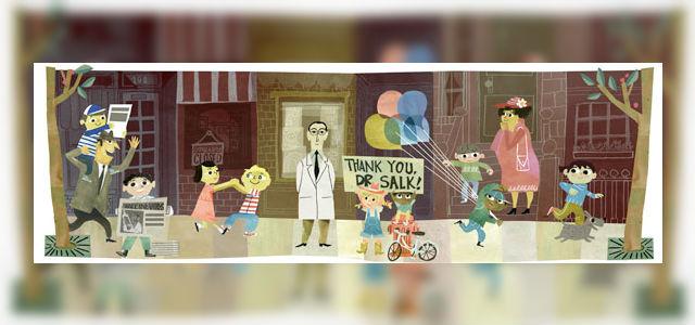 Google Doodle ter ere van Jonas Salk