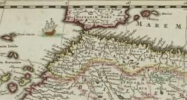 Fragment van een oude kaart van Marokko
