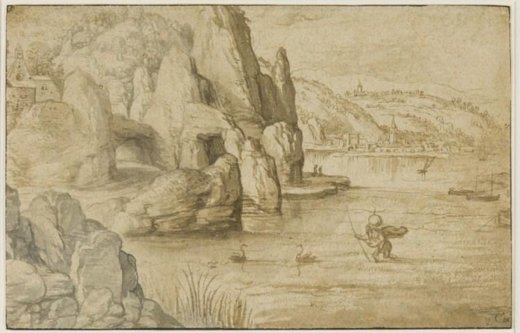 Kustlandschap met de H. Christoffel, ca. 1540 - Matthijs Cock (ca. 1509-1548) - Rijksmuseum