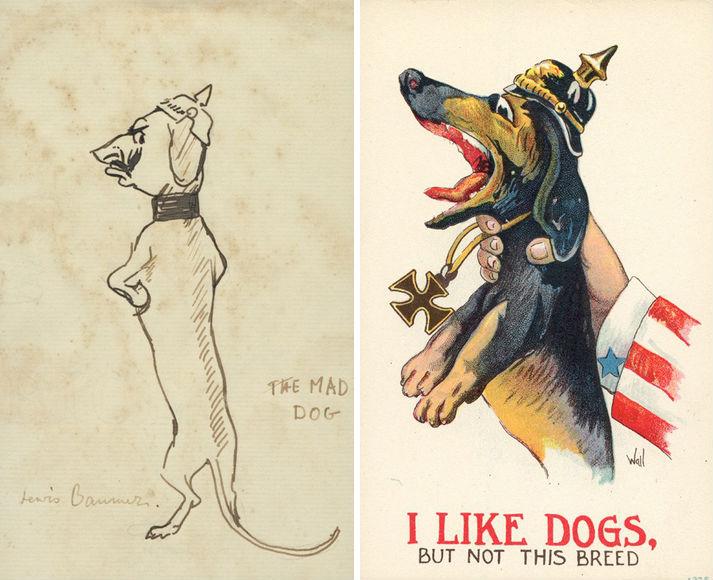 """Links een spotprent waarin de Duitse Keizer wordt voorgesteld als een teckel. (Lewis Christopher Edward Baumer: """"The Mad Dog of Potsdam""""). - Recht een Amerikaans propaganda-affiche uit 1940-1945 om draagvlak te creëren voor de strijd tegen Duitsland."""