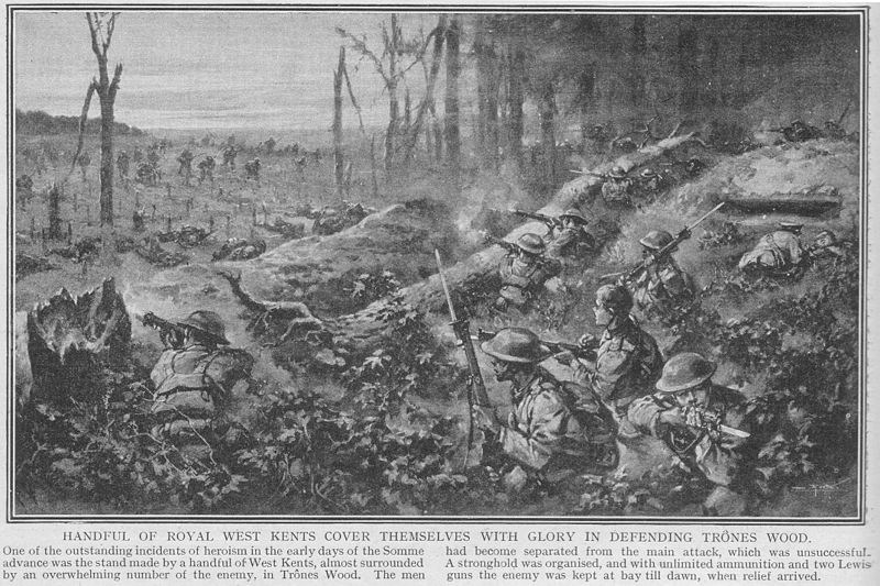 Tekening van Ed. H.W. Wilson van de Slag om Delville Wood