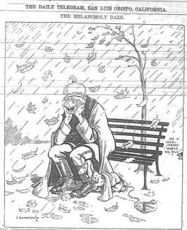 """Spotprent met de Duitse Keizer, eenzaam maar met zijn teckel. Op elk neerdwarrelend herfstblaadje staat het woord """"defeat'. Bron: The Daily Telegram, San Luis Obispo, California, 8 November 1918."""