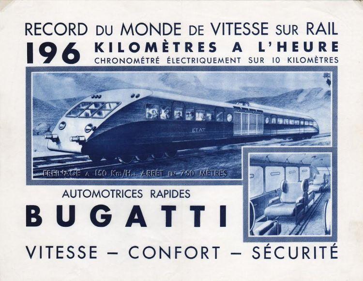 Advertentie wereldrecord Autorail Bugatti, 1937 (collectie Arjan den Boer)