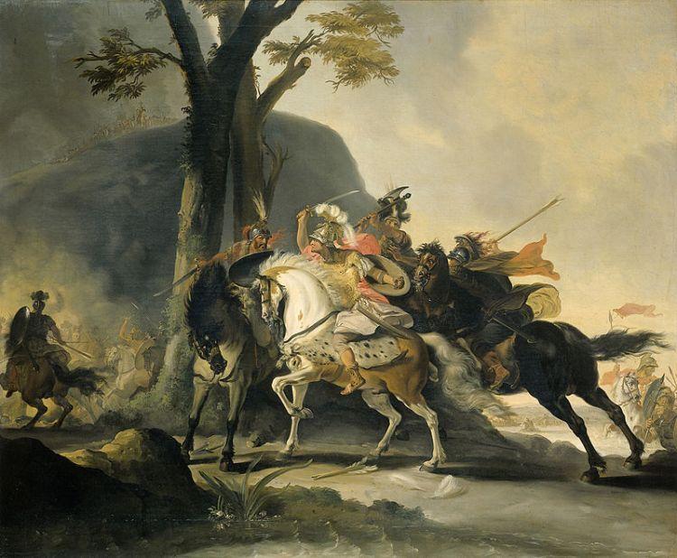 Alexander de Grote in de slag tegen de Perzen bij de Granikos, Cornelis Troost, 1737 - cc