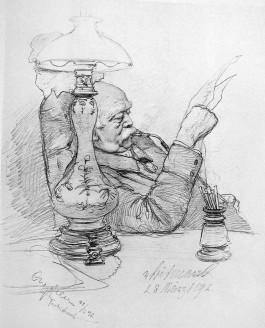 Bismarck thuis in Friedrichsruh (1892), getekend door C.W. Allers