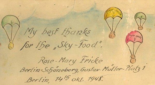 Bedankbriefje voor de Candy Bomber.  © Privécollectie G.S. Halvorsen