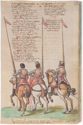 Het Wilhelmus, opgeschreven door de rederijker Willem De Gorter (overl. 1620) uit Mechelen. Hij schreef tal van gedichten op en voorzag ze van tekeningen van krijgsvolk uit die jaren.