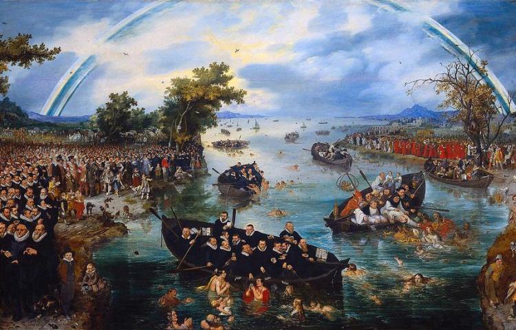 'De Zielenvisserij. Schilderij van Adriaen van de Venne (1569-1662), Links de Republiek, met Maurits , Willem Lodewijk en predikanten; rechts de aartshertogen met katholieke geestelijken. Ze vissen naar de zielen van gelovigen en worden verbonden met een regenboog.