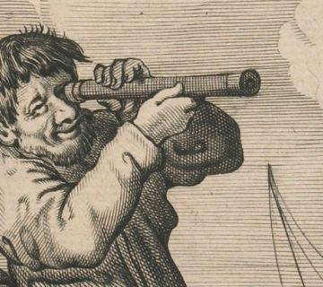 Detail uit een Nederlandse spotprent over het Delftse kijkertje, ca. 1635 (Boerhaave)