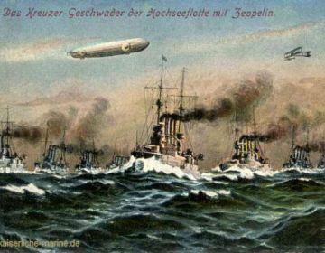 Hochseeflotte met daarboven een zeppelin