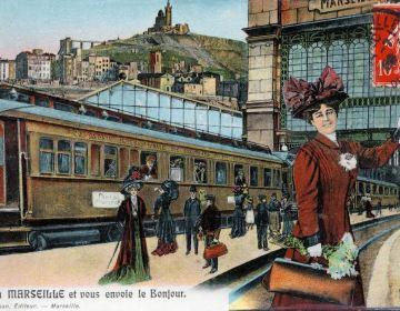 Ansichtkaart aankomst station Marseille, ca. 1900