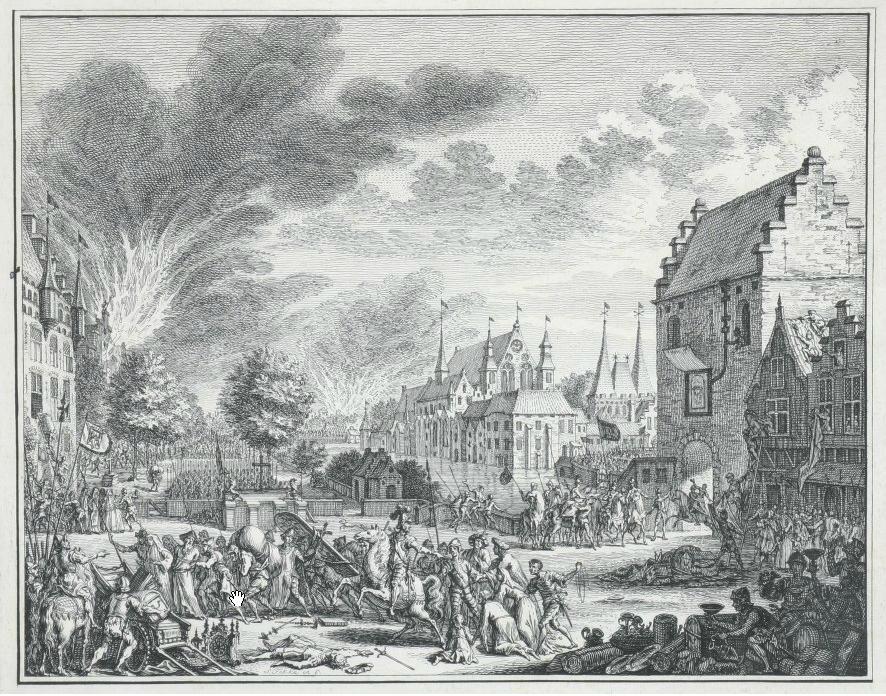 's Gravenhage geplunderd door Maarten van Rossum (Gelders legeraanvoerder) op 8 maart 1528 (1750)