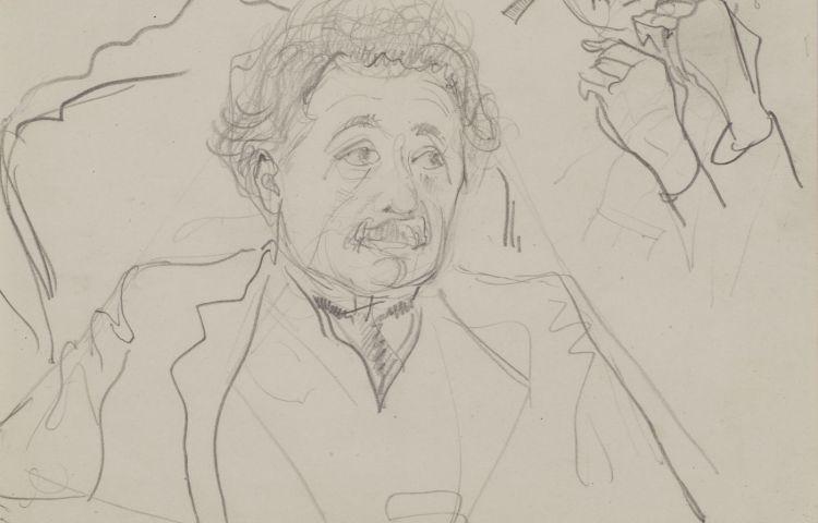 Albert Einstein potloodtekening 1920 door Harm Kamerlingh Onnes (Boerhaave)