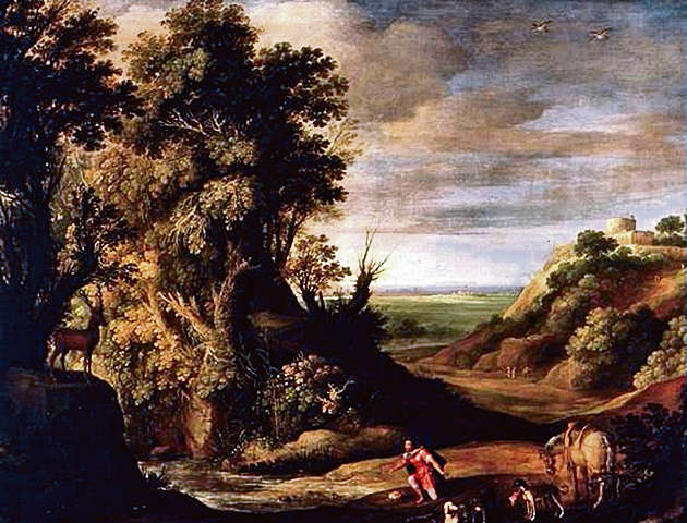 De heilige Hubertus in een landschap - Paul Bril