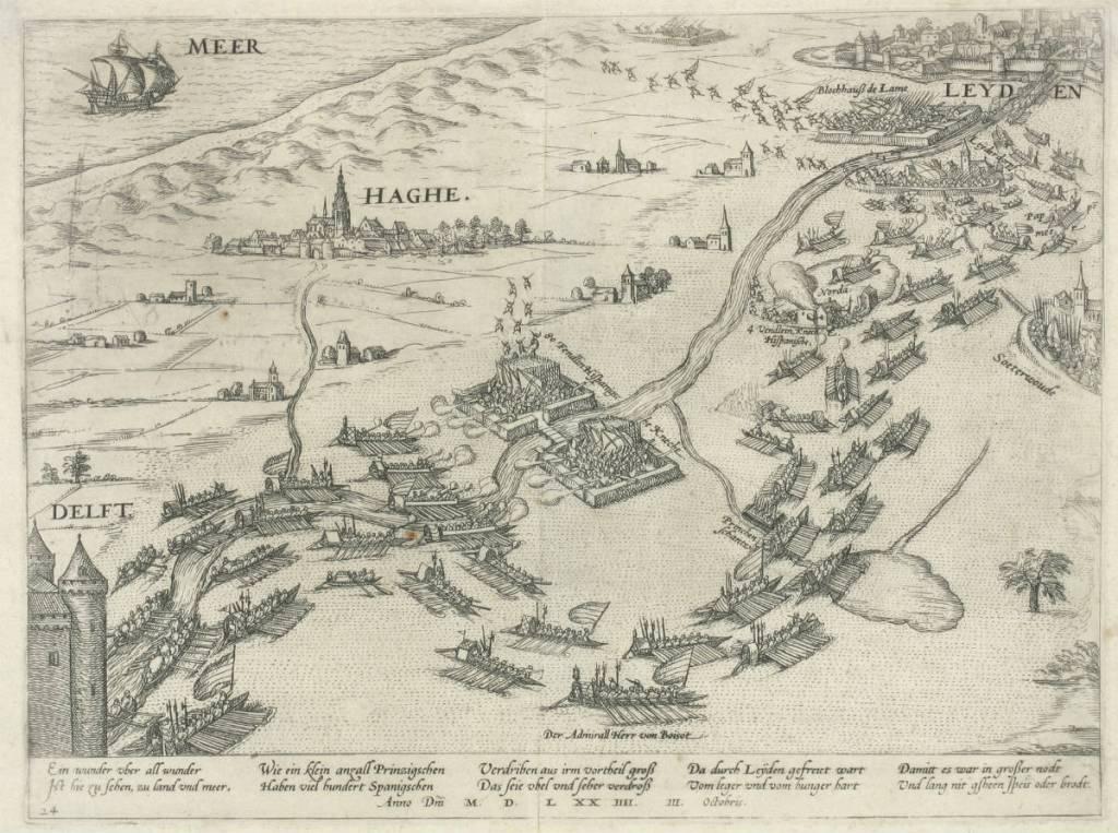 Leiden in last - Leidens ontzet, 3 oktober 1574 (ets van onbekende artiest). Collectie HGA.