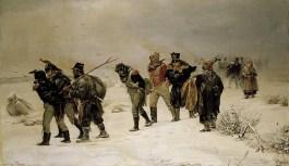 Ploeteren door de sneeuw rond Moskou. De meesten zouden de tocht niet overleven...