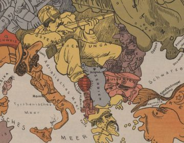 Servië te midden van onder meer Oostenrijk-Hongarije, Bulgarije, Roemenië en Rusland op een oude WOI-kaart