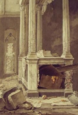 Schade in de Domkerk na de revolutionaire overval van 1795.
