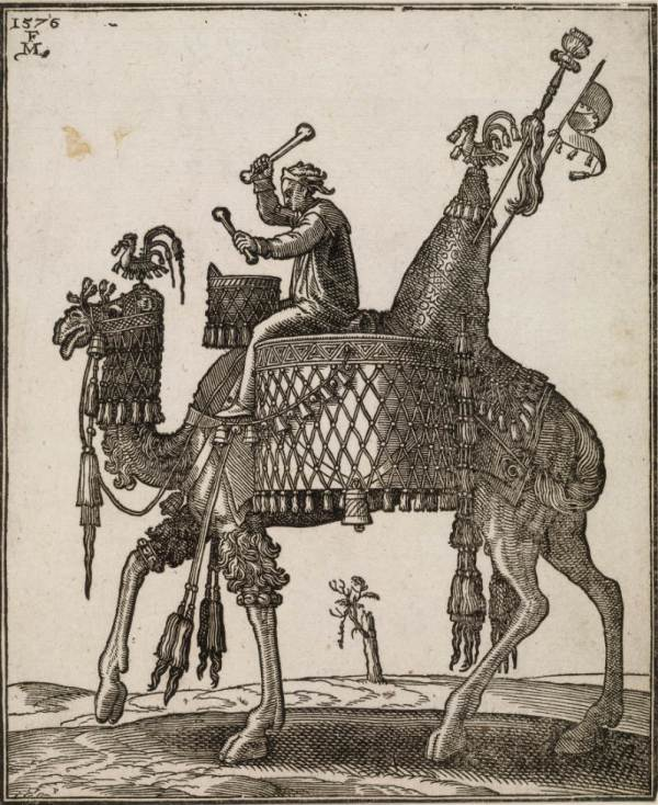 Melchior Lorck A kettledrum player riding a camel In profile to left; the camel with ornate saddle and bridle from which bells are dangling; from a series of 127 woodcuts (ca.1576) Woodcut on paper © Trustees of the British Museum