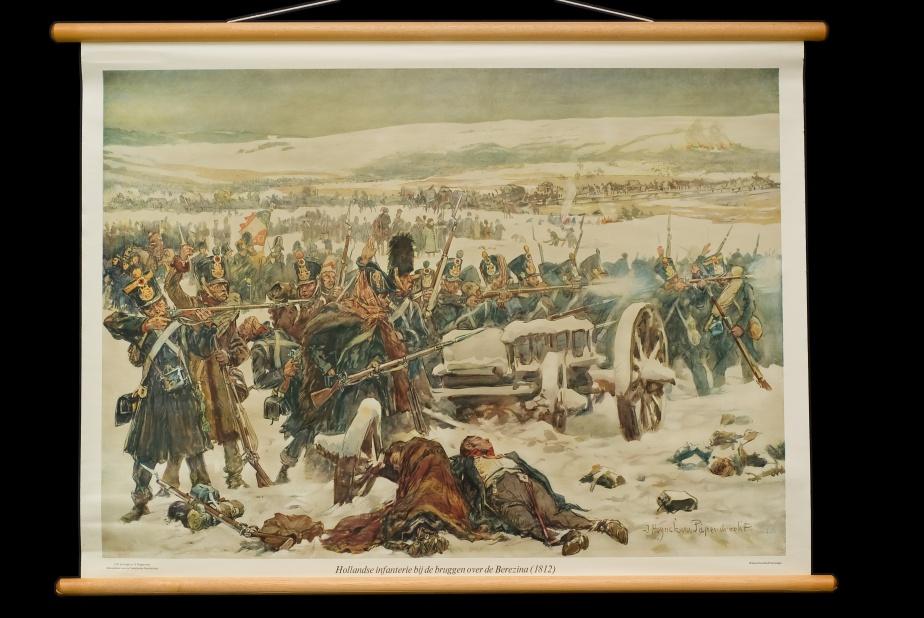 Jan Hoynck van Papendrecht, Hollandsche Infanterie bij de bruggen over de Berezina, 1812 (uit de serie Schoolplaten voor de vaderlandse geschiedenis, 1911)