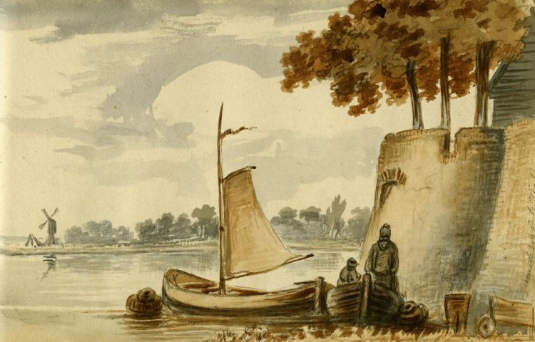 J.F. Tack, Waallandschap bij Tiel, 19e eeuw