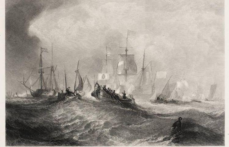 Aankomst in Torbay - Gravure van William Miller, geïnspireerd op J.M.W. Turner (1852).