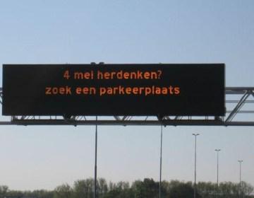4 mei herdenken? Zoek een parkeerplek (Rijkswaterstaat)