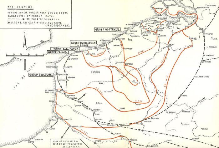 Kaart van de Duitse opmars (met data in rood), de plaats van stranding van de Pavon (S.S. Pavon) en in stippellijnen de route van de overlevenden richting Nederland. (Illustratie: Kennispunt mei 1940 - Grebbeberg.nl)