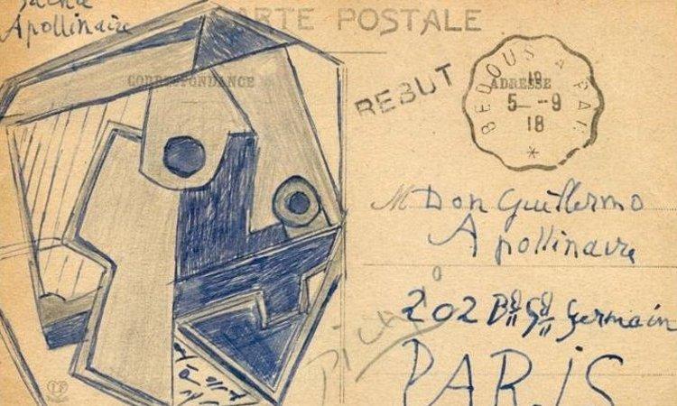 Achterzijde van de door Picasso verstuurde postkaart