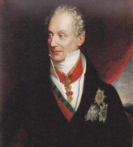 Prins Klemens Wenzel von Metternich (1773-1859), kanselier van Oostenrijk tot hij in 1848 op de vlucht werd gedreven.