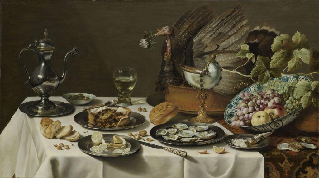 Stilleven met kalkoenpastei, Pieter Claesz., 1627