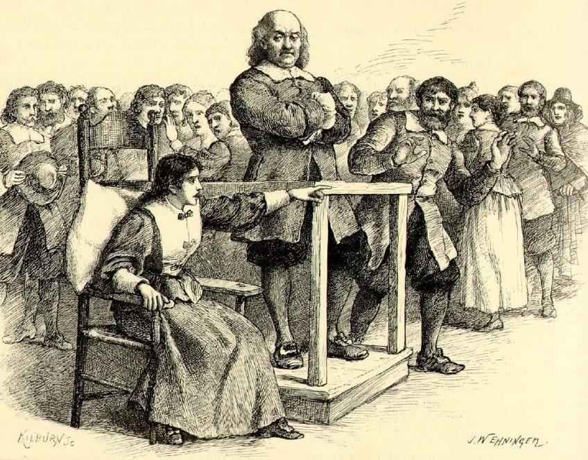 Tekening van de heksenprocessen te Salem in 1692. Bron: Wikimedia