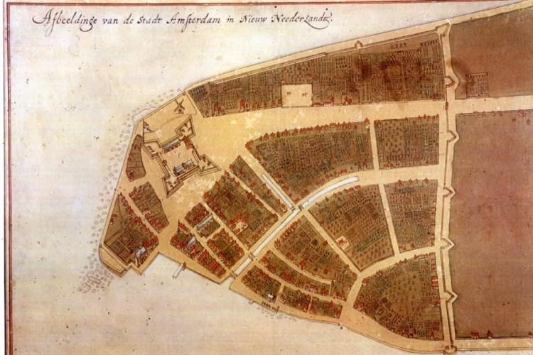 Het 'Castello Plan', kaart van Nieuw-Amsterdam (1660). Bron: Wikimedia