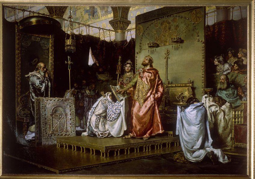Bekering van Reccared I, schilderij van Muñoz Degrain