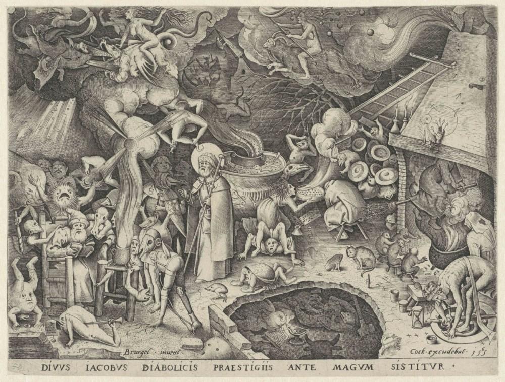Sint Jacob bestrijdt hekserij en toverij. Gravure Pieter van der Heyden naar Pieter Bruegel, 1565