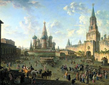 Rode Plein in Moskou - Schilderij van Fedor Alekseev, 1801