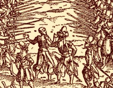 Tekening van het spitsroeden lopen in Kriegsbuch (1525) van Jost Ammann