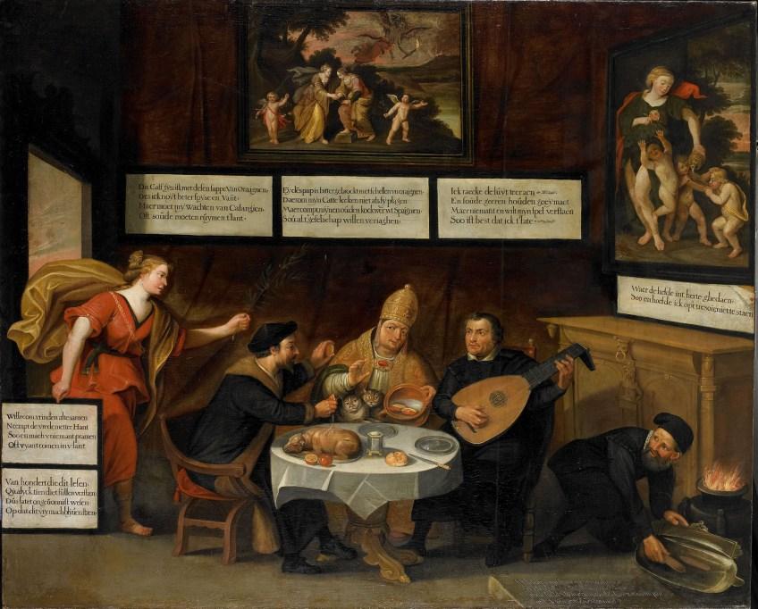 'De vrede maant de kerken tot verdraagzaamheid', 1624. V.l.n.r. Calvijn, de paus, Luther en een wederdoper.