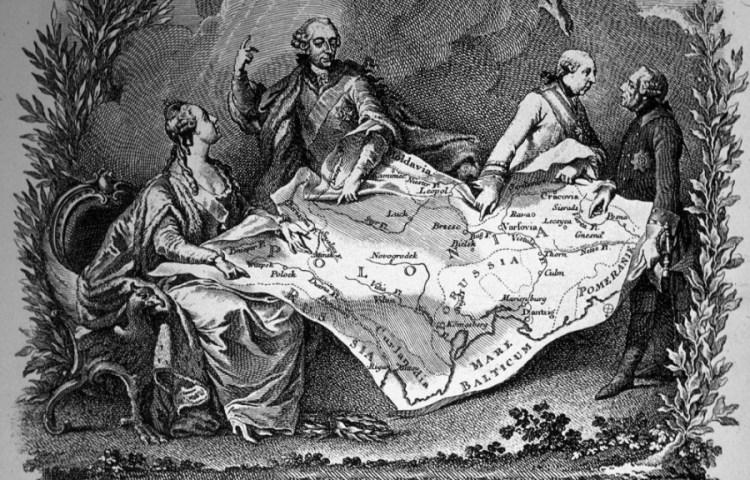 Tsarina Catharina de Grote van Rusland, keizer Jozef II van Oostenrijk en koning Frederik de Grote van Pruisen verdelen Polen