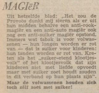 Het Limburgsch Dagblad citeert uit het blad Provo over klootjesvolk (6 sept. 1966). www.delpher.nl