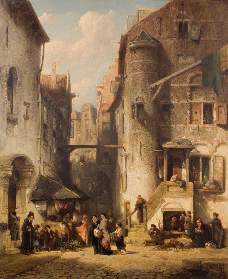 Salomon Verveer, Een straat in de Amsterdamse jodenbuurt, 1851. Stichting Twickel, Delden
