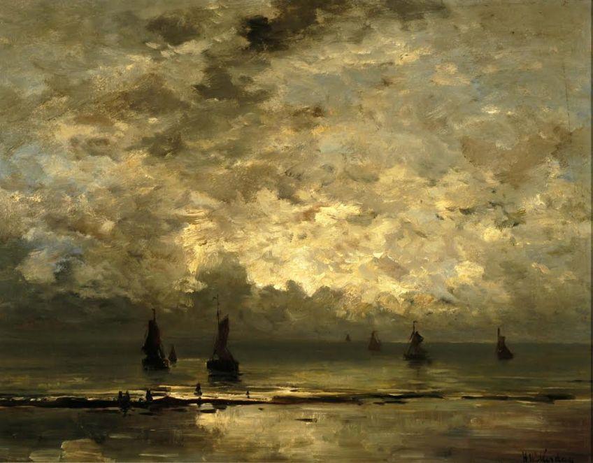 Hendrik Willem Mesdag - Schepen op zee onder bewolkte hemel