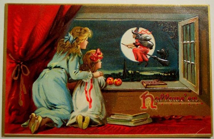 Moeder en dochter kijken hoe een heks langs de maan vliegt, ca. 1907  (eBay)