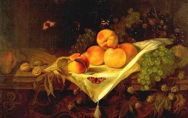 Stilleven met perziken en druiven, ca.1680, Mauritshuis, Den Haag
