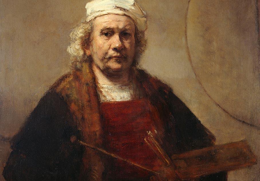 """Rembrandt van Rijn, """"Zelfportret met twee cirkels"""" (ca. 1667). Bron: Rijksmuseum"""